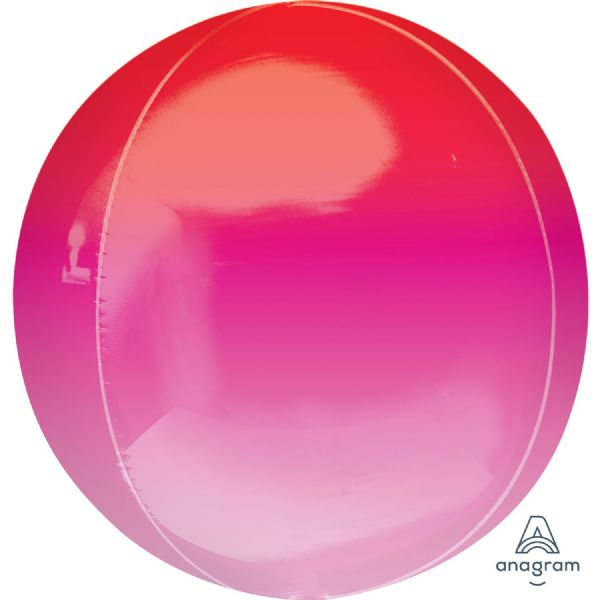 Ombre Red & Pink Round Orbz 15in Balloon